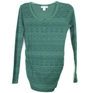 Motherhood Maternity Top Thermal Shirt Green